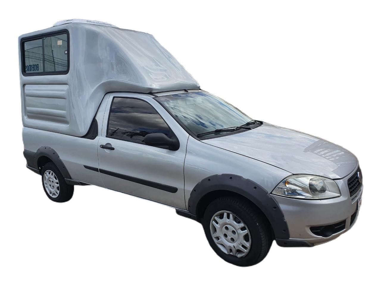 Capota de Fibra Nova Baú com 90 cm Mais Alta que o Teto do Veículo e com 2 Portas Elevadas ao Teto da Capota para Fiat Strada Cabine Simples ano 1998 - 2020