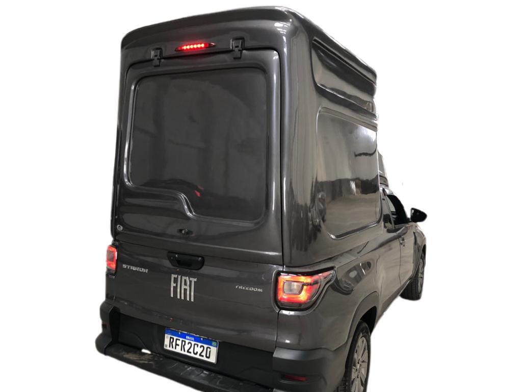 Capota de Fibra Nova Baú Meia Tampa com 90 cm Mais Alta que o Teto do Veículo com Elevação da Tampa ao Teto da Capota para Fiat Strada Cabine Simples ano 2021